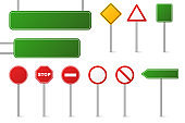 Set of different road signs isolated on a white background. Traffic and direction signs. Red, green and yellow. Speed limit. Stop. Vector collection.
