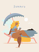 Girl is sunbathing on a beach bench and reading a book under umbrella