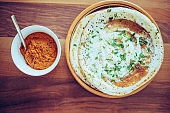 Dosa with Coconut Chutney - South Indian Breakfast