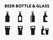 Beer Bottle Glass Pint Bar Alcohol Drink. Flat Vector Line Icon Set.