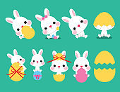 Collection of Easter bunny and egg, vector illustration. Easter cartoon bunny isolated on green background.