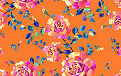 Luxury floral background made of watercolor roses. Seamless pattern.