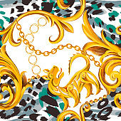 Fashion seamless pattern with Baroque Rococo border frame elements mixed with animal skin print texture