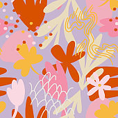 Botanical seamless pattern made of organic doodle shapes. Modern cut out paper style, flat design. Floral background.