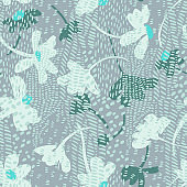 Vector seamless pattern with daisies mixed with animal skin print texture. Summer background.