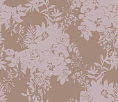 Seamless pattern made of roses silhouettes