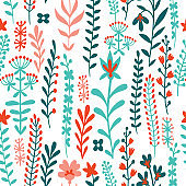 Floral seamless pattern made of meadow plants, grass, herbs, stems and flowers. Summer ornament.