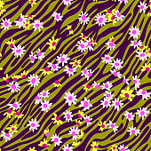 Cute vector botanical seamless pattern. Small daisies scatterred. Wild flowers in vintage style. Flat simple floral freehand background for kids, baby and girls design, textile, fabric, wallpaper,