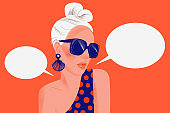 Woman says. Portrait of stylish woman with sunglasses and blank dialog speech bubbles