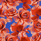 Botanical seamless pattern made of large blossom roses. Floral background.