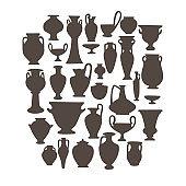 Antique vases set. Greek and roman pottery amphoras, vessels, jars.