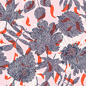 Floral botanical seamless pattern made of ornate leaves and large meadow wild flowers