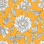 Hand drawn abstract garden flowers. Contour drawing. Large daisy heads in bloom. Summer floral seamless pattern. Line art flowers. Detailed outline sketch drawing. Good for dress, fabric and textile.
