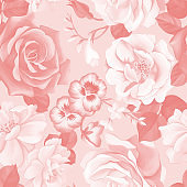 Large roses buds seamless pattern. Monochrome floral background.