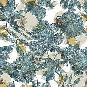 Floral botanical background made of ornate leaves.