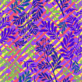 Chevron seamless pattern mixed with leaf branches and twigs silhouettes. Abstract floral and geometric background with artistic zigzag lines texture. Nature ornament. Good for fashion, textile, fabric