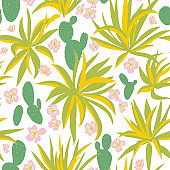 Summer botanical seamless pattern. Floral texture, Exotic flowers.