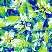 Expressive abstract floral seamless pattern with large daisy buds. Brush strokes oil painting. Hand drawn meadow flowers with lush foliage.