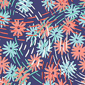 Ditsy daisy floral background. Seamless pattern made of meadow field flowers. Botanical summer ornament. Nature motif. Simple geometric dotted lines texture, Good for fabric and textile.