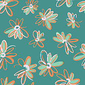 Bright spring nature background. Ditsy seamless pattern made of artistic daisy flowers. Scattered daisies in simple minimalist style. Felt tip pen. Sketch design, outline drawing.