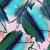 Watercolor abstract seamless pattern.
