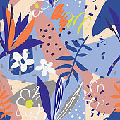 Vector floral seamless pattern collage cut out design