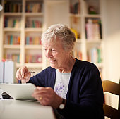 happy connected senior woman