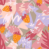 Abstract floral background, organic shapes, plants, berry, doodles. Cut out paper design, collage style.