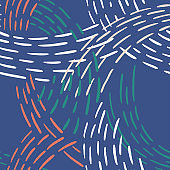Simple geometric ornament. Seamless abstract pattern with colorful lines. Abstract line art. Dashed lines background