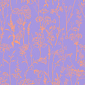 Botanical seamless pattern with meadow herbs and plants. Outline drawing.