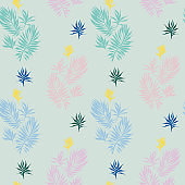 Botanical seamless pattern made of leaves, plants and sprigs