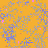Vector botanical seamless pattern with herbs, stems and plants. Flat line drawing.