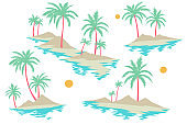 Tropical islands set with palm trees, sand and water isolated on white. Summer nature vacation landscape collection.