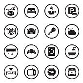 Bed And Breakfast Icons. Black Flat Design In Circle. Vector Illustration.