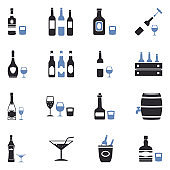 Alcoholic Drinks Icons. Two Tone Flat Design. Vector Illustration.