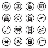 Security Icons. Set 2. Black Flat Design In Circle. Vector Illustration.