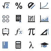 Mathematics Icons. Two Tone Flat Design. Vector Illustration.