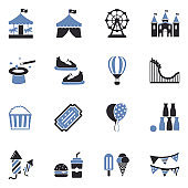 Amusement Park Icons. Two Tone Flat Design. Vector Illustration.