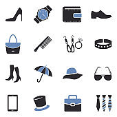 Accessories Icons. Two Tone Flat Design. Vector Illustration.
