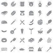 Meat Icons. Gray Flat Design. Vector Illustration.