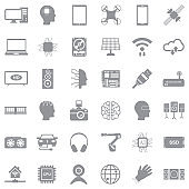 Modern Technology Icons. Gray Flat Design. Vector Illustration.