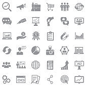 Marketing Icons. Gray Flat Design. Vector Illustration.