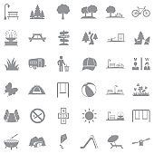 Park And Outdoor Icons. Gray Flat Design. Vector Illustration.