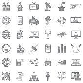 News Reporter Icons. Gray Flat Design. Vector Illustration.
