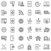 Online Shopping Icons. Gray Flat Design. Vector Illustration.
