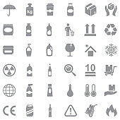 Packing Icons. Gray Flat Design. Vector Illustration.