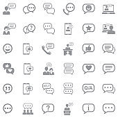 Message And Chat Icons. Gray Flat Design. Vector Illustration.
