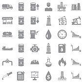 Oil Icons. Gray Flat Design. Vector Illustration.