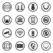 Museum Icons. Set 2. Black Flat Design In Circle. Vector Illustration.