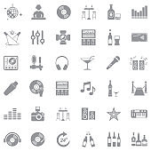 Night Club Icons. Gray Flat Design. Vector Illustration.